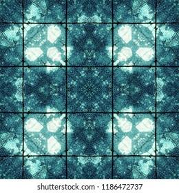 Blue complex symmetrical seamless organic pattern