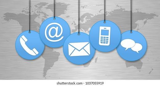 Blaue Kontaktsymbole vor einer Weltkarte