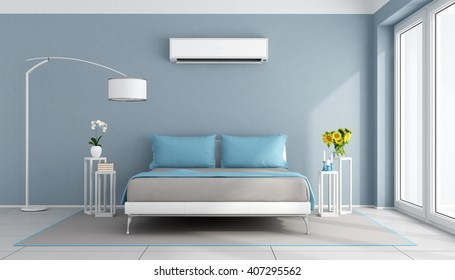 Blue contemporary bedroom with air conditioner - 3d rendering