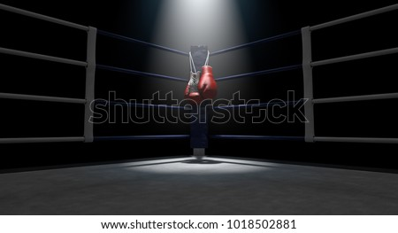 The blue corner of a boxing ring with gloves hanging on a pole spotlit on an isolated dark background - 3D render