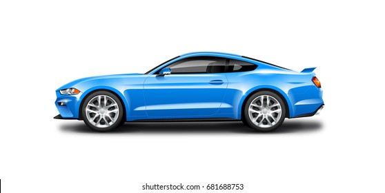 Blue Coupe Sporty Car. Generic automobile with glossy and carbon fiber surface on white background. Side view with isolated path. 3D illustration.