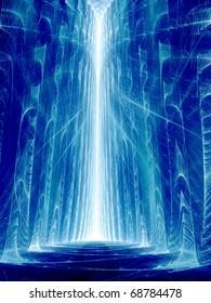 Blue Crevasse - Fractal Illustration