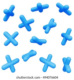 Blue cross. Abstract simple geometric shapes isolated on white background. Cartoon cute children forms. Colorful funny realistic glossy style. Plastic reflective material. 3D render.
