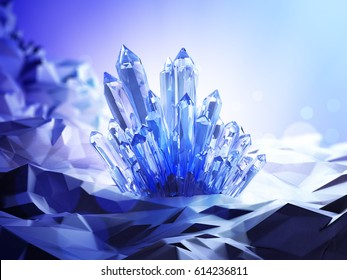 A blue crystal with a magical glow around in a mysterious cave. 3D illustration