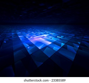 Blue Crystal Tech - 3D fractal landscape