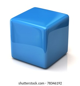 Blue cube isolated on white background