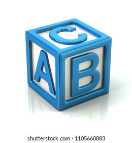 Blue cube with letters A, B and C 3d illustration on white background
