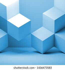 Blue cubes installation, abstract geometric background. 3d rendering illustration