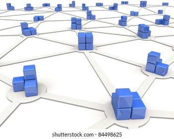 Blue cubes as nodes of distributed network