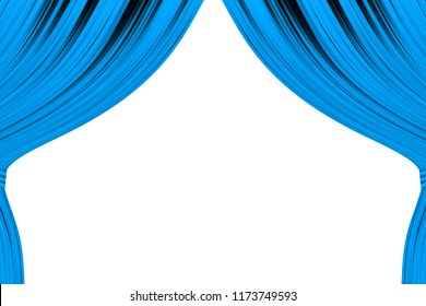 Blue curtain illustration, pulled to two sides, connected, on white isolated background.