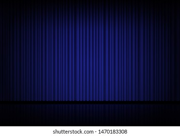 Blue curtain opera, cinema or theater stage drapes. Spotlight on closed velvet curtains background