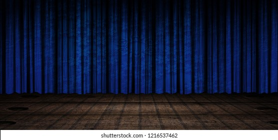 Blue curtain stage background 3d illustration