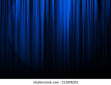 Blue curtain stage with spot light background