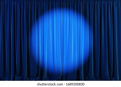 Blue curtains stage, theater background with spotlights. 3d illustration