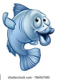 A blue cute cartoon fish character waving