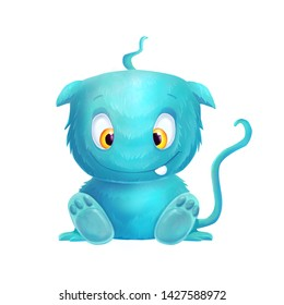 Blue cute cartoon funny monster on the white background