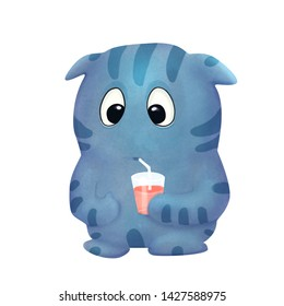 Blue cute cartoon funny monster with juice on the white background