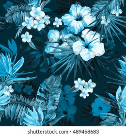 Blue dark Beautiful tropical pattern with hand painting flowers hibiscus and flower bird of paradise. Deep forest painted tropical illustration with palm leaf, banana leaves, exotic flowers.