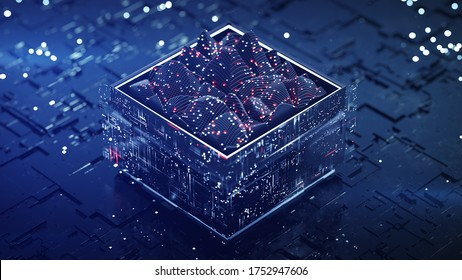 Blue data analysis process. Fictional circuit board with signal analyzer. 3D rendering illustration with DOF