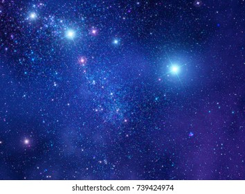 blue, decorative abstract cosmic background illustration representing an artistic view on the Universe with sparkling twinkling multi-colored  and deep space objects.