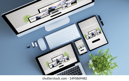 blue devices top view creative responsive website 3d rendering.