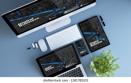 blue devices top view digital business website 3d rendering.