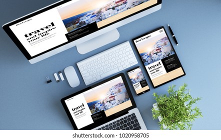 blue devices top view travel website 3d rendering.