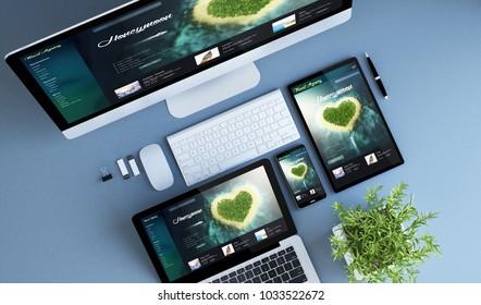blue devices top view travel honeymoon website 3d rendering.
