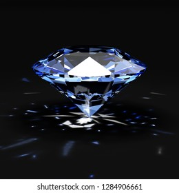 Blue Diamond with Glowing Rays on black background. 3D Rendering
