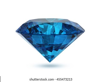 Blue diamond isolated on white background , 3d rendering
