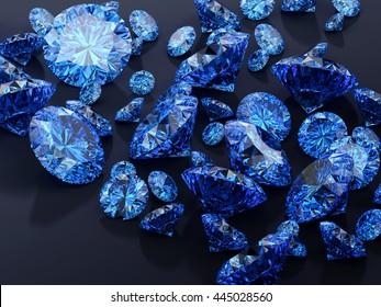 Blue diamonds placed on black background, 3D illustration.