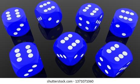 Blue dice on black background.3d illustration