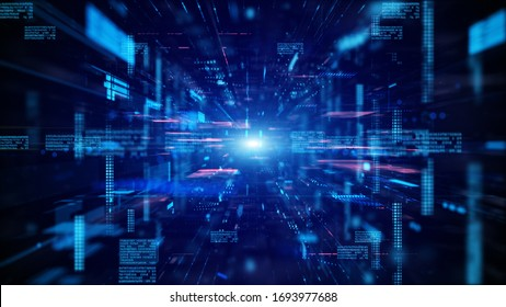 Blue Digital cyberspace and digital data network connections concept. Transfer digital data hi-speed internet, Future technology digital abstract background concept.