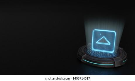 blue digital laser 3d hologram symbol of caret square up render on old metal sci-fi pad background
