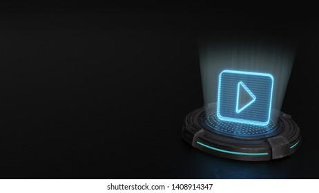 blue digital laser 3d hologram symbol of caret square right render on old metal sci-fi pad background