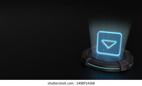 blue digital laser 3d hologram symbol of caret square down render on old metal sci-fi pad background