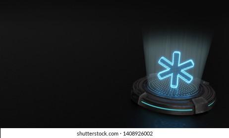 blue digital laser 3d hologram symbol of asterisk render on old metal sci-fi pad background