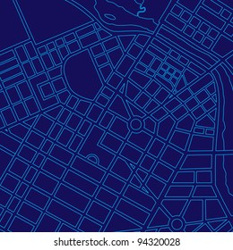 Blue digital map of a generic urban city