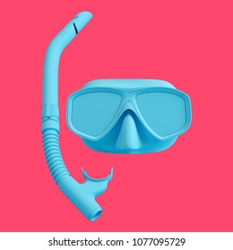 Blue diving mask and snorkel isolated on red background. Trendy fashion style. Minimal design art. 3d rendered illustration.