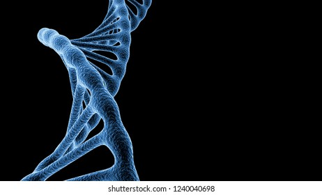 blue DNA isolated on black background with space for copyspace