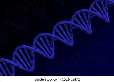 Blue DNA molecule on black and dark blue background. 3D rendering.