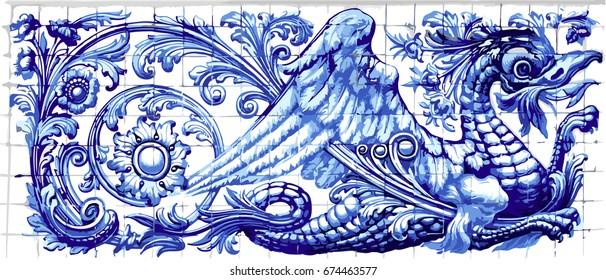 Blue dragon azulejo indigo ceramic tile magnet souvenir. Realistic detailed floor pattern ornament ornate illustration
