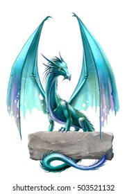 blue dragon isolated on the white