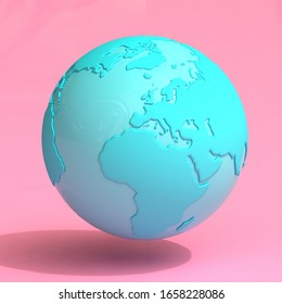 Blue Earth Globe in Duotone Style on a pink background. 3d Rendering