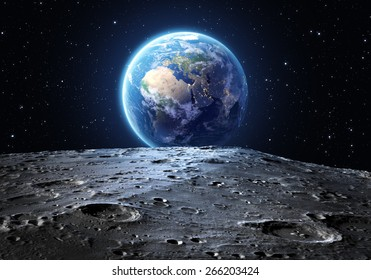 blue earth seen from the moon surface: Elements of this image are furnished by NASA
