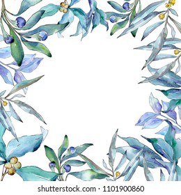 Blue elaeagnus leaves in a watercolor style. Frame border ornament square. Aquarelle leaf for background, texture, wrapper pattern, frame or border.