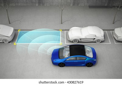 Blue electric car driving into parking lot with parking assist system. 3D rendering image.
