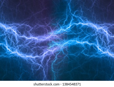 Blue electrical lightning, plasma abstract background