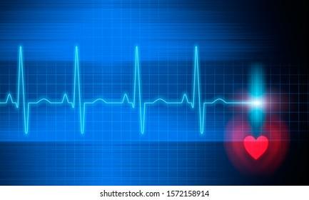 Blue Electrocardiogram - 3d Illustration