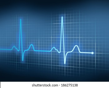 Blue Electrocardiography Heart Beat Pulse on Graph.